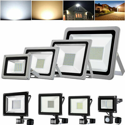 LED Floodlight 10/20/30/50/100W with PIR Sensor Security Flood Light Warm Cool