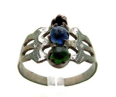 Late / Post Medieval Silvered Ring W/ Stones & Hallmark - Wearable - E103