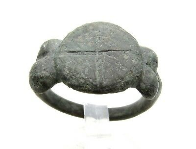 Medieval Crusaders Bronze Ring W/ Cross - Wearable - D896
