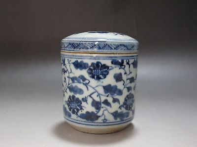 CH0063 China Blue and white porcelain Old Tea caddy Hand painted Flower Tea pot