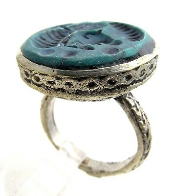 Post Medieval Silver Ring Carved Intaglio Green Lapis W/ Bust - Wearbale - E109