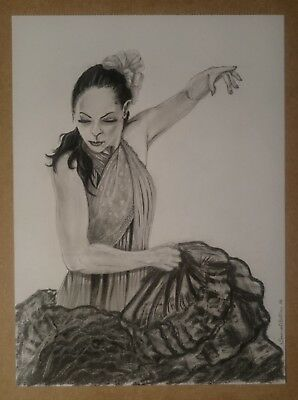Authentic Art, Spanish Drawing Signed by artist (Artistic Flamenco Figure)