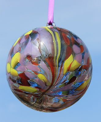 "10cm Hand Blown Glass Bauble ""Lilac Lemon"""