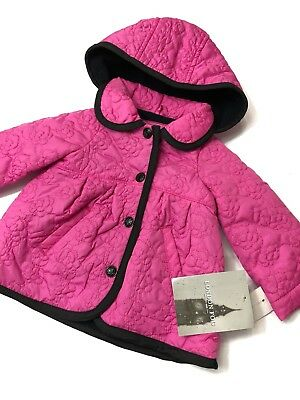 NWT London Fog Infant Girls 6-9 Months Pink Quilted Jacket Coat Hooded