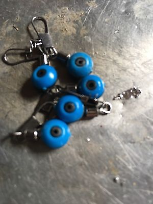 15 X BLUE SMALL WINTER LEDGER SLIDER BEADS PULLY RIG  Free Line Stops