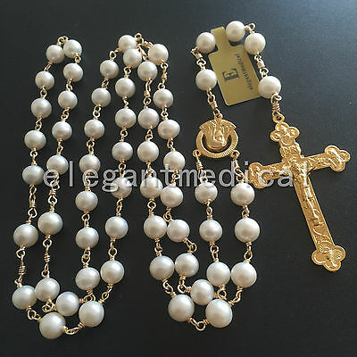 GOLD AAA White Pearl Beads catholic Rosary NECKLACE Cross Crucifix GIFTS BOX