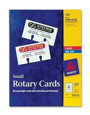 """NIB Avery Laser Inkjet Small Rotary Cards 2 1/6"""" x 4"""" Template 5385 White 400Ct"""