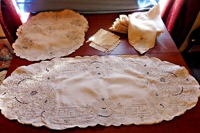 Vint/Antiq Embroidery Cutwork Beige Table Set for 8, Runner, Placemats, Napkins