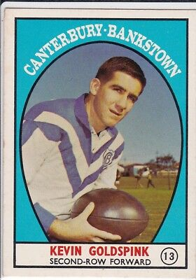c1968 Scanlens CANTERBURY-BANKSTOWN Goldspink RUGBY LEAGUE FOOTBALL CARD