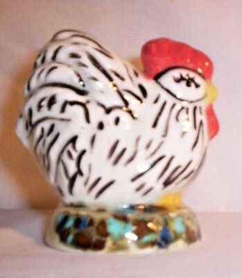 Chicken H214 -T250 Ceramic Black / White Rooster Pie Bird