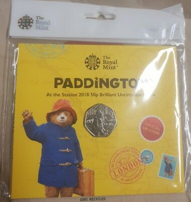 Royal Mint 50p Paddington Bear at the station 2018 brilliant uncirculated coin