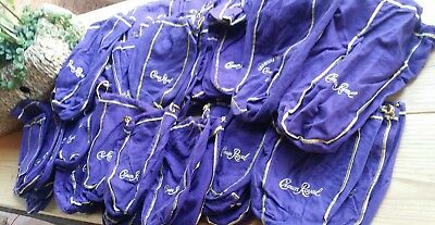Vtg Estate lot 90 various Deep Purple CROWN ROYAL BAGS silk GOLD drawstrings