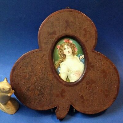 Antique Early 20C - Carved Wood Clover Leaf Picture Frame - 30cm T, Oval Glass