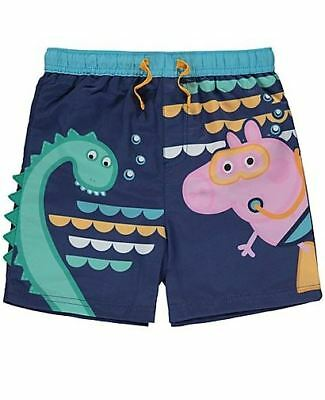 Peppa Pig George Baby Boys Blue Lined Swimming Trunks Shorts Swimwear  12 18 24