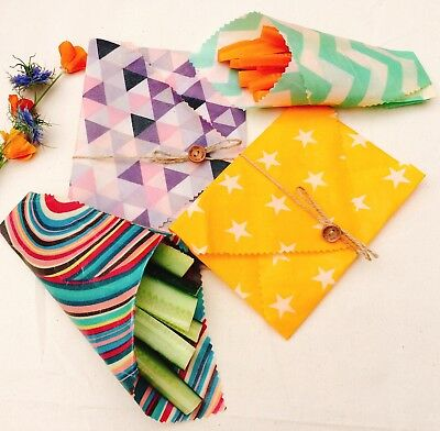 """Family Lunch Pk Of 4 """"Eco Habit"""" Beeswax Food Wraps, Variety Of Fabric"""