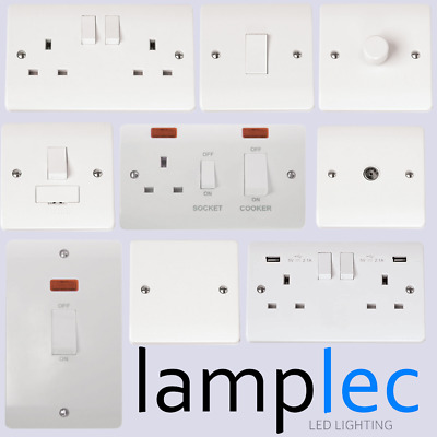Click Mode Slim White Moulded Plastic Switches Sockets Spur Switch Accessories