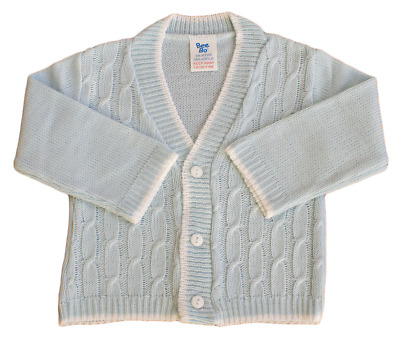Baby boy cardigan Spanish style cable knit BLUE