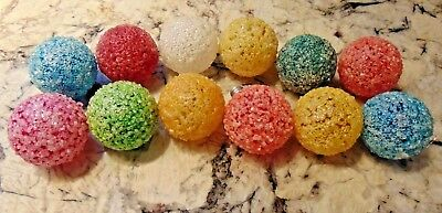 12 Vintage Lighted Frosted Snowball Ice GE Light Bulbs Christmas Lights Working!