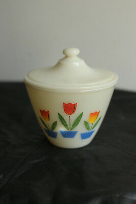Vintage Fire King Tulip Grease Jar with Lid