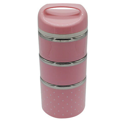 Thermal Lunch Box Food Leak-Proof Stainless Container Tableware 3 Tier Pink