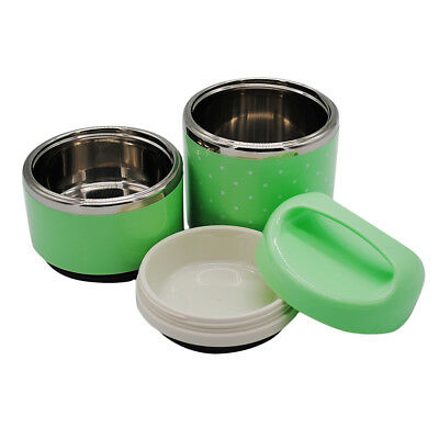 Stainless Steel Thermal Food Containers Children Lunch Box 2 Layer Green