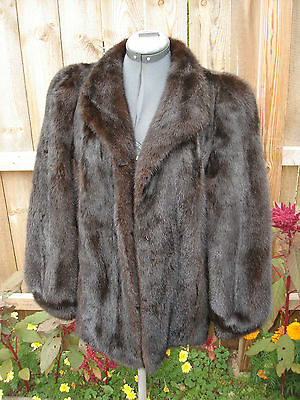 Vintage Nice Natural Fur Mahogany Dark Brown Mink Women Jacket Size Medium