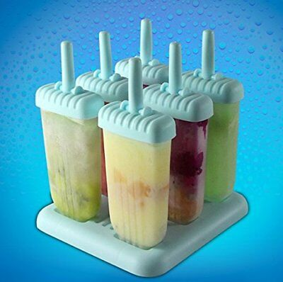 6Pcs Popsicle Ice Lolly Mould Maker Set Fun Pop Mould Holders w/ Tray Kids Party