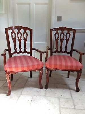 Pair of Large Carver Dining Hall Arm Chairs Upholstered Mahogany