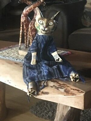 Hand Carved Wooden Cat WOW!