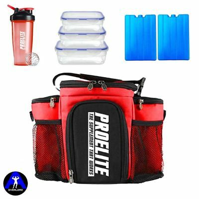 3 Meal Prep Bag Fitness Insulated Food Storage Lunch Box With 3 Containers RED