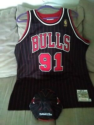 half off cf465 d8ea1 Mitchell and Ness Dennis Rodman Chicago Bulls jersey and hat size 48