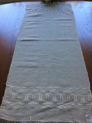 Vintage 1970's ,nwt. Hand woven linen natural  linen table runner  15 x 36 inche