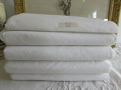 Antique French old, never used beautiful metis linen large sheet. (For one only)