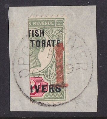 "NIGER COAST 1894 Opobo River Bisect provisional ""1"" on QV 2d  ONLY 360 PRINTED"