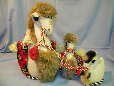 """3 Vintage Unique Hand Sewn Stuffed  Decorative Camels, 13"""", 8"""" and 6"""" tall"""
