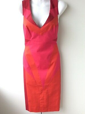 KAREN MILLEN ladies fitted stretchy cerise pink and orange bodycon dress size 12
