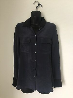03358a6e241f8c Aritzia T. Babaton Silk Blouse Pockets Long Sleeve Button Down Size Extra  Small