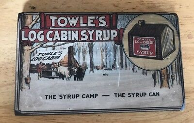 "VINTAGE TOWLE'S LOG CABIN SYRUP 10.5x6.5"" WOOD ADVERTISING SIGN CAMP CAN"