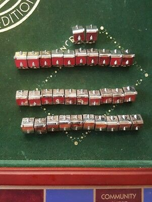 FRANKLIN MINT MONOPOLY GAME accessories (32) SILVER HOUSES complete set