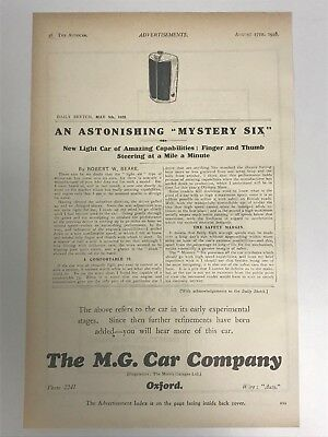 VERY RARE 1928 MG (MG Car Company) (Mystery Six) Old Car Advert L16