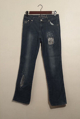 TOTAL GIRL JEANS  Embellished Pans Straight Leg Blue Girls Size 14
