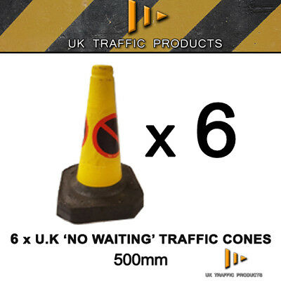 Pack of 6 - No Waiting / No Parking U.K Traffic Cones (500mm)