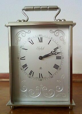 Vintage imhof carriage clock  in brushed Chrome and  excellent working conditio