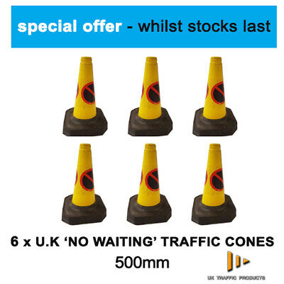 SPECIAL OFFER: 6 No Waiting / No Parking U.K Traffic Cones (500mm)