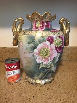 Antique Nippon Hand Painted Vase Gold Moriage Maple Leaf Mark 1891 Large 12""