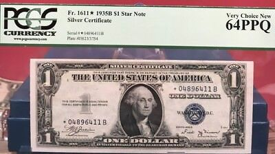1935-B $1 Blue Seal ***star*** Note Silver Certificate Pcgs 64 Very Choice New