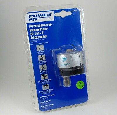 """Pressure Washer 5 in 1 Nozzle Power Fit 3100 PSI 1/4"""" Quick Connect P31078B NEW"""