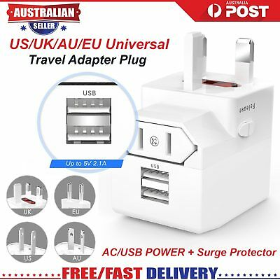 New Travel Power Charger Universal Adapter Plug AU UK EU US With USB port