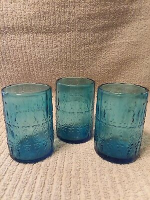 Wheaton Glass Co blue juice tumblers