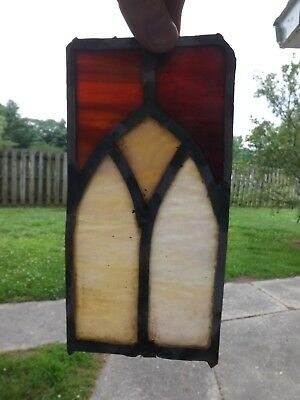 Vintage Leaded Stained Glass Window Clear  Antique Slag Fragment Salvage